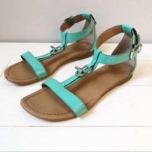 Franco Sarto Grafite Patent Leather Sandals - Aqua